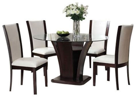 White Leather Dining Room Set 5 Malik Collection White Leather Like Upholstered Chairs And Dining Set Contemporary