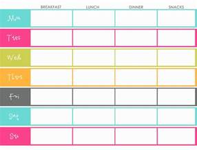 weekly food menu template meal planning