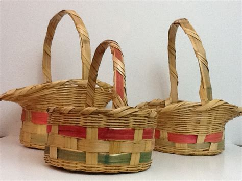 3 vintage wicker easter baskets
