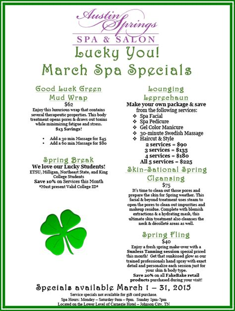 spring spa specials prepare for spring by scheduling one of our march