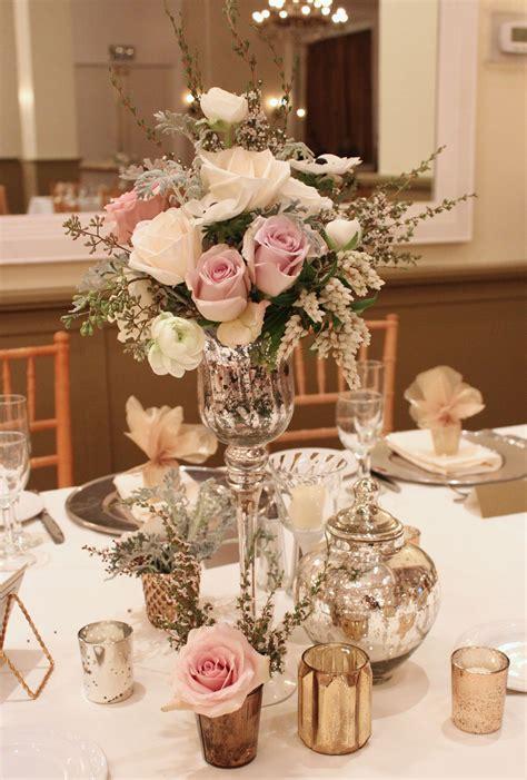 vintage style flowers mercury glass wedding centerpiece flowers