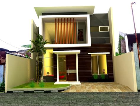 dua lantai gaya kontemporer keren rumah minimalis fasad desain desain fasad rumah