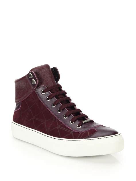 purple high top sneakers jimmy choo origami leather embossed suede high top