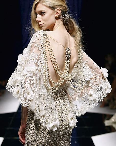Dress Pearl gorgeous lace back dress with pearl zuhair murad wedding
