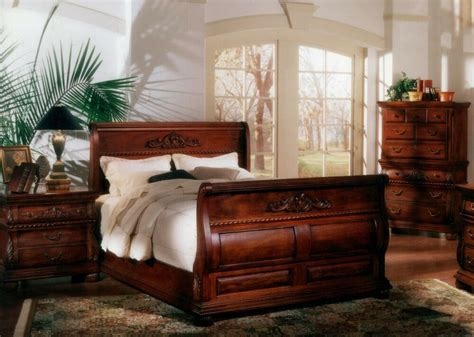 pc queen bed hand carved solid mahogany wood sleigh bedroom suite set ebay