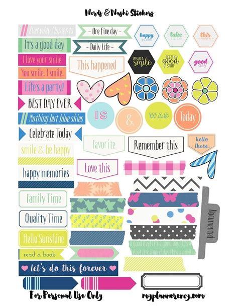 printable stickers pdf free printable planner stickers pdf printables and menu