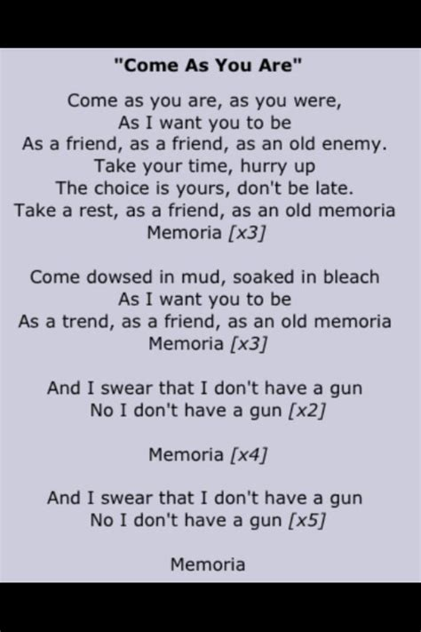 nirvana dive lyrics nirvana come as you are lyrics kurt cobain