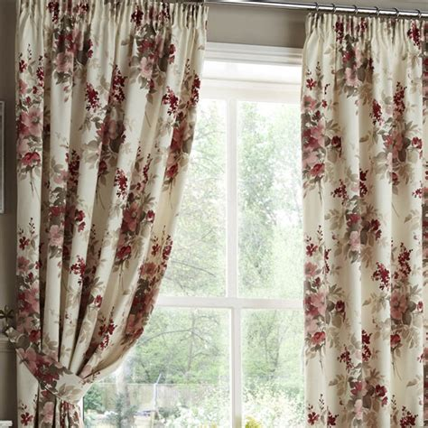 red pencil pleat curtains milldale floral red pencil pleat curtains pencil pleat
