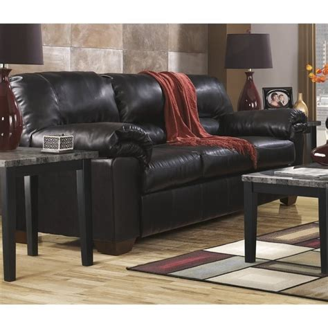 ashley furniture black leather couch ashley commando faux leather sofa in black 6450038