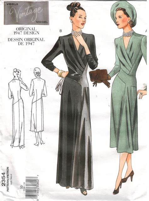 pattern vogue vogue pattern 2354 dress and gown from 1947 size 10