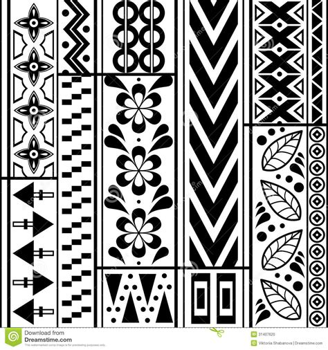 easy tribal pattern black and white tribal striped seamless pattern stock photo image 31407620