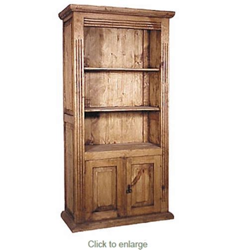 mexican pine bookshelf 2 doors