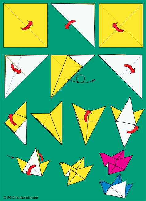 Folding Paper Birds - how to make origami flying birds friday