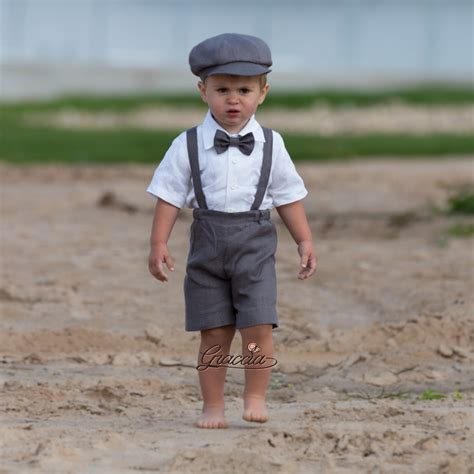 Wedding Attire For Baby Boy by Ring Bearer Newsboy Baby Boy Gray Linen Suit Wedding