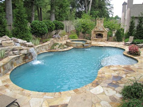 Atlanta Pool Builder Freeform In Ground Swimming Pool Photos Pool Backyard