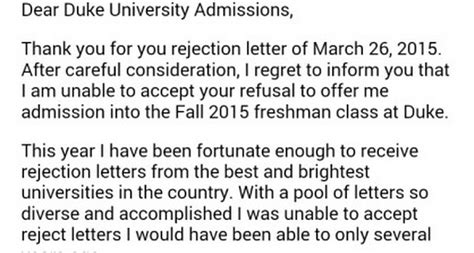 Rejection Letter Viral Teen S Rejection Of College Rejection Letter Goes Viral Fox13now