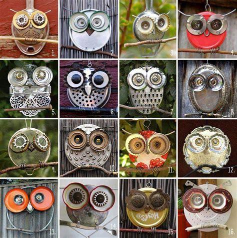 diy owl crafts wonderful diy recycled lid owls