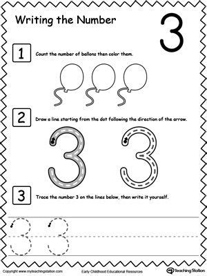 learn to count and write number 3 learn to count count