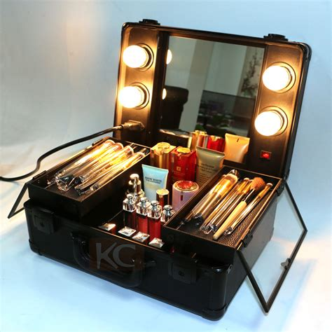 Make Up Box lighting cosmetic with mirrior professional makeup with lights and clasp key make up