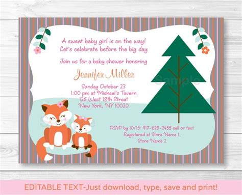 Girl Fox Baby Shower Invitation Fox Baby Shower Invite Fox Baby Shower Invitation Template