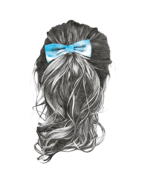 Sketches Hair by 1000drawings By Natalie Candlish Pretty Ponytail With Bow