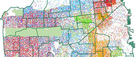 san francisco race map a dot map of ages 5 17 by race in san francisco