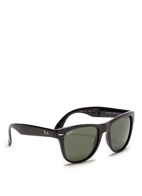 Raybn Wayfarer Folding Black lyst ban wayfarer folding acetate sunglasses in black