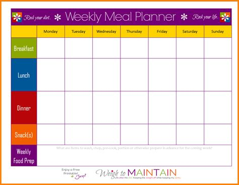 11 Meal Prep Planner Attorney Letterheads Editable Meal Plan Template