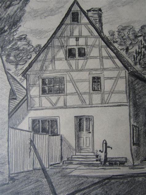 Gerahmtes Bild Bleistiftzeichnung B 228 Uerliches Haus
