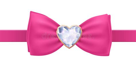 Bow Pita Pink by Pink Bow Tie With Brooch Stock Vector