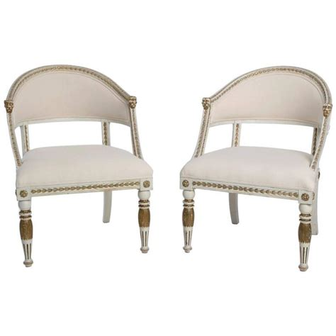 tub armchairs for sale pair of white painted gustavian style tub armchairs for