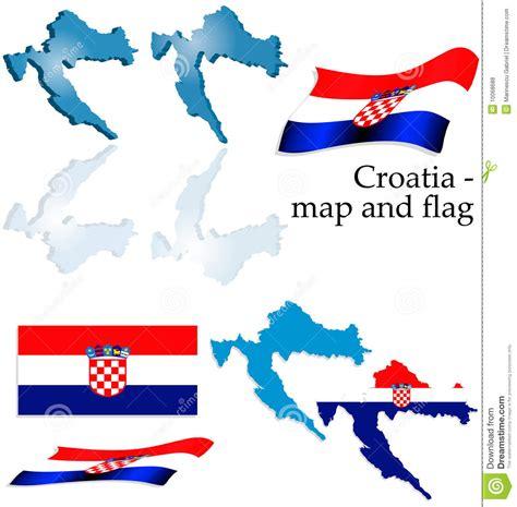 croatia map  flag set stock vector image  croatia