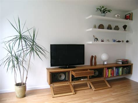 floating media cabinet and shelves living