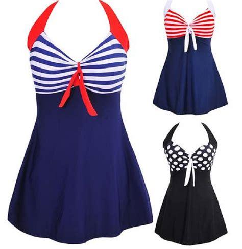 plus size stripe padded halter skirt swimwear