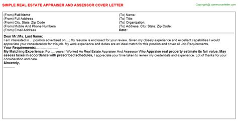 real estate appraiser and assessor cover letter sle