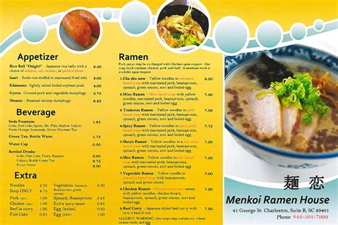 raman house menkoi ramen house is open here s the menu eater charleston