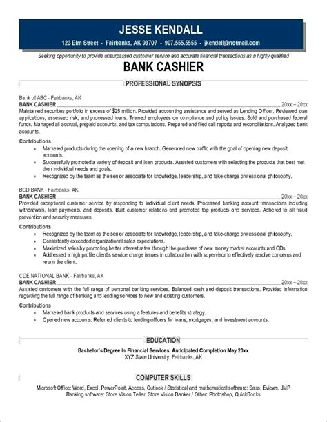 Cashier Resume Description bank cashier description exles of resumes for