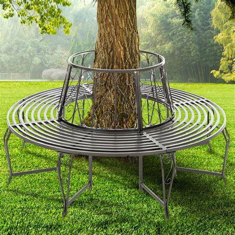 outdoor round bench seating foxhunter outdoor garden tree bench round circular steel