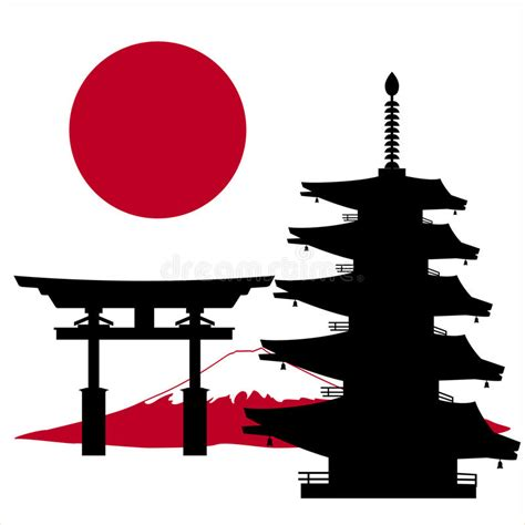 japanese pagoda vector japanese multi store pagoda and flag stock vector