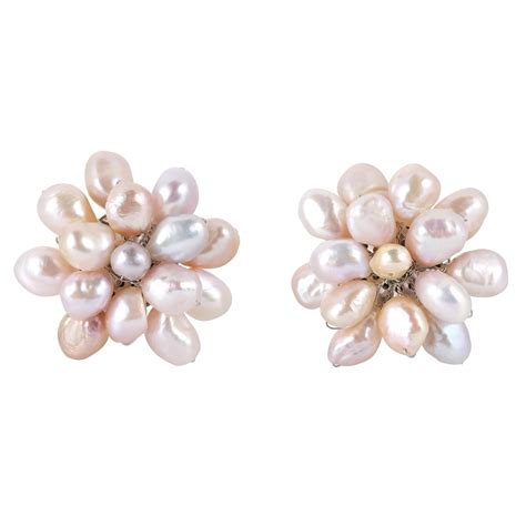 Handmade Statement Earrings - large pink pearl floral cluster stylish clip on statement