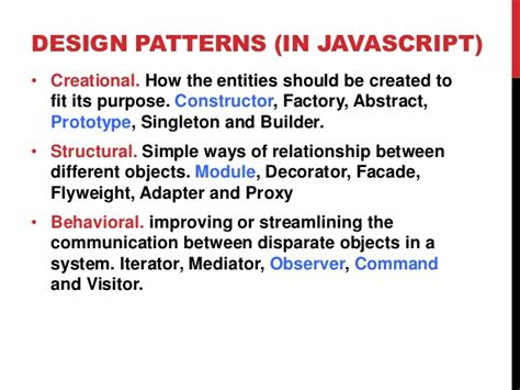 pattern design javascript javascript design patterns