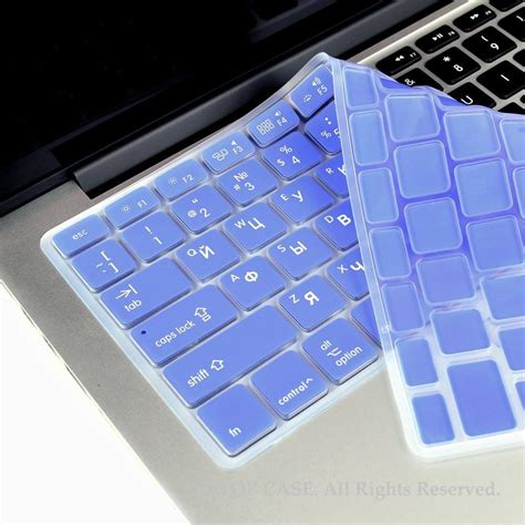 macbook pro keyboard light russian english light blue silicone keyboard cover for