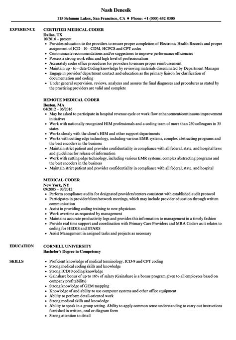 medical coder resume medical coding resume samples medical coding
