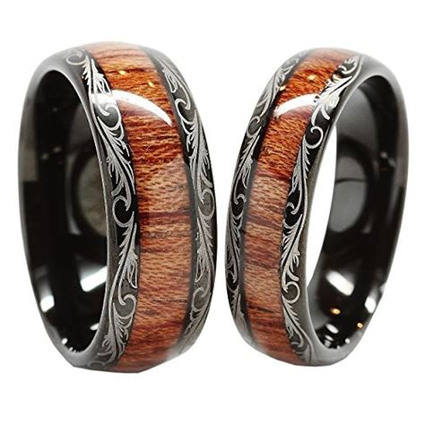Personalized Tungsten Carbide Wedding Band Wood Inlay