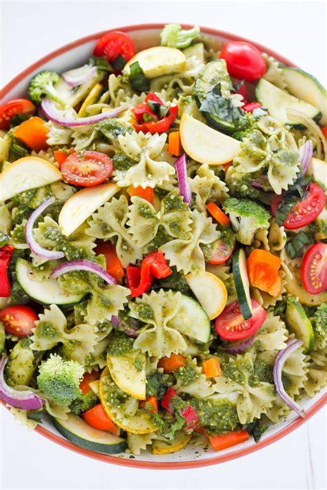 pasta salad vegetarian 20 minute rainbow veggie pasta salad baker by nature