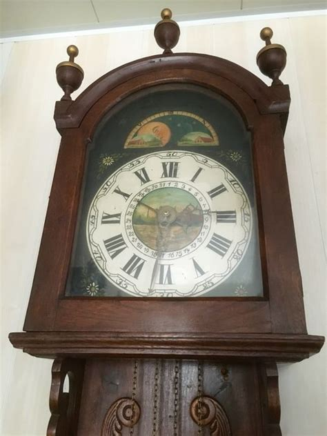 wall mounted grandfather clock antique decorated frisian wall mounted pendulum clock period 1880 catawiki