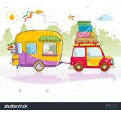 Vector Illustration Cute Car With Caravan Card Concept