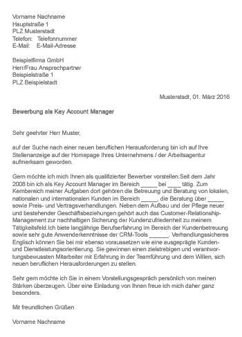 Anschreiben Verk Uferin Schuhe muster gt bewerbung als key account manager