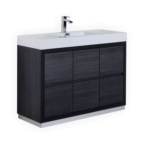 bliss 48 quot gray oak free standing modern bathroom vanity