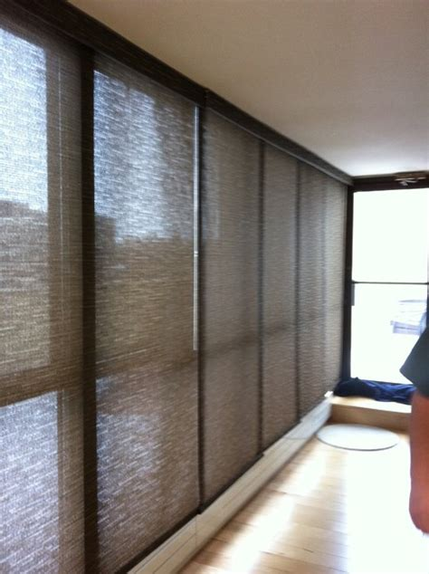 Ceiling To Floor Blinds sliding solar screen panels for a 21 ft floor to ceiling window contemporary vertical blinds